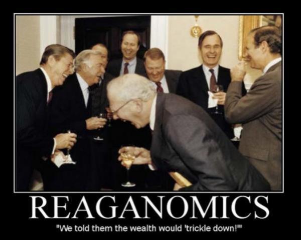 TRICKLE DOWN = Reaganomics VOODOO LIES