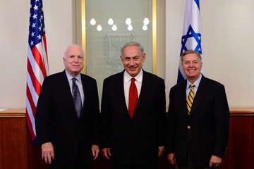 GRAHAM AND McCAIN WITH THEIR ISRAELI BOSS