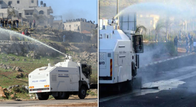 ISRAELIS SPRAY SEWAGE ON Palestinian homes