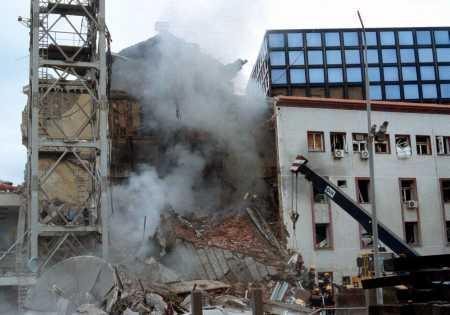 SERBIA TELEVISON BOMBED
