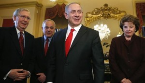 Israel's Prime Minister Netanyahu and Israel's Intelligence Minister Steinitz arrive at a meeting with U.S. Senators McConnell and Feinstein on Capitol Hill in Washington