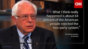 SANDERS 64% OF AMERICANS DO NOT SUPPORT THE TWO PARTY SYSTEM