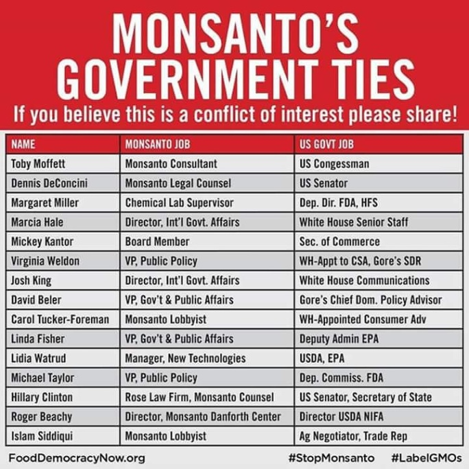 HILARITY CLINTON IS ON THIS MONSANTO LIST