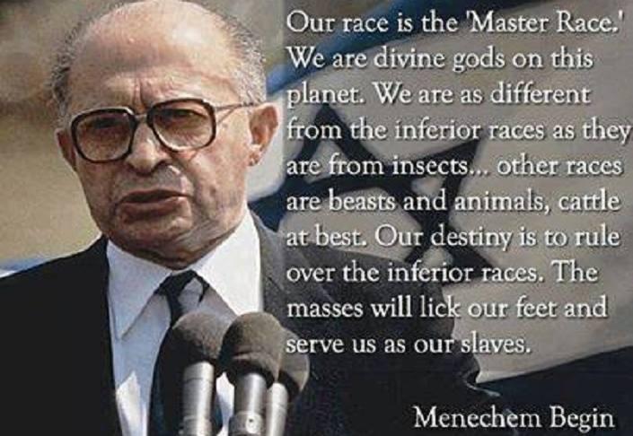 ISRAELI PM CALLS JEWS THE %22MASTER RACE%22!