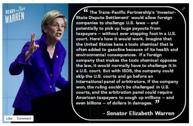 TPP = CRAP SAYS LIZ WARREN