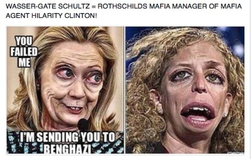 WASSER-GATE SCHULTZ = ROTHSCHILDS MAFIA MANAGER OF MAFIA AGENT HILARITY CLINTON!