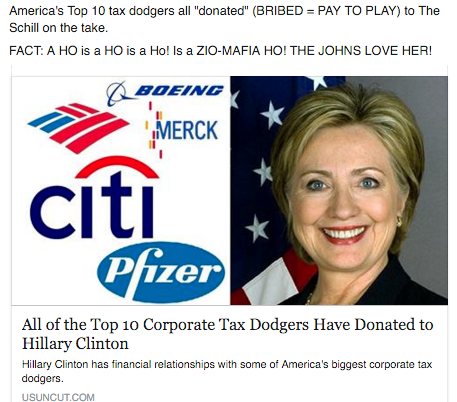 America's Top 10 tax dodgers all %22donated%22 (BRIBED = PAY TO PLAY) to The Schill on the take. FACT: A HO is a HO is a Ho! Is a ZIO-MAFIA HO! THE JOHNS LOVE HER!