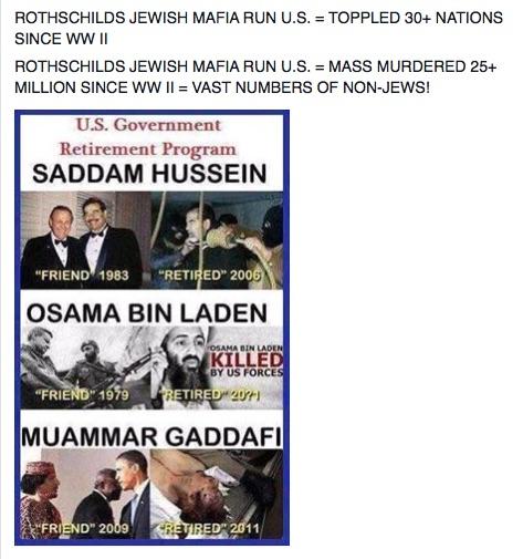 ROTHSCHILDS JEWISH MAFIA RUN U.S. = TOPPLED 30+ NATIONS SINCE WW II ROTHSCHILDS JEWISH MAFIA RUN U.S. = MASS MURDERED 25+ MILLION SINCE WW II = VAST NUMBERS OF NON-JEWS!