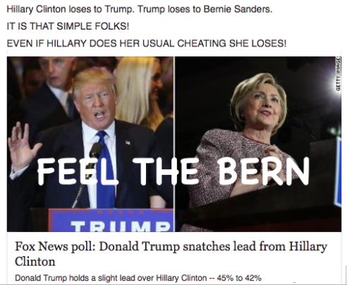 Hillary Clinton loses to Trump. Trump loses to Bernie Sanders. IT IS THAT SIMPLE FOLKS! EVEN IF HILLARY DOES HER USUAL CHEATING SHE LOSES!