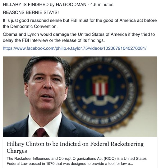 Hillary Clinton = Will soon be Indicted on Federal Racketeering Charges as well as Espionage Act Charges