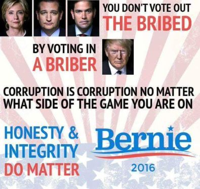 BERNIE OR BUST = MEANS A CLEAN SLATE WITHOUT THE CRIMINAL BAGGAGE