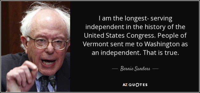 BERNIE = LONGEST SERVING 3rd PARTY CANDIDDATE IN HISTORY